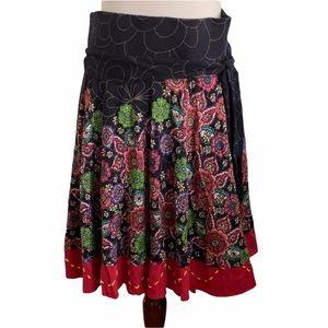 Desiqual Anthro Floral Asymmetrical Skirt ties  S